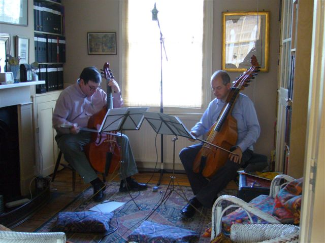 Roland Hutchinson on the left with viola da gamba, and his friend Jeremy Brooker on the right with the baryton