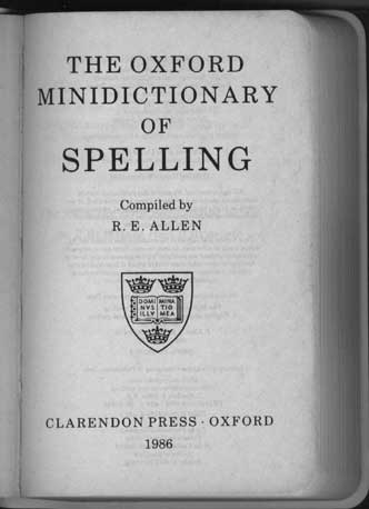 "Title page: ""The Oxford Minidictionary of Spelling"""